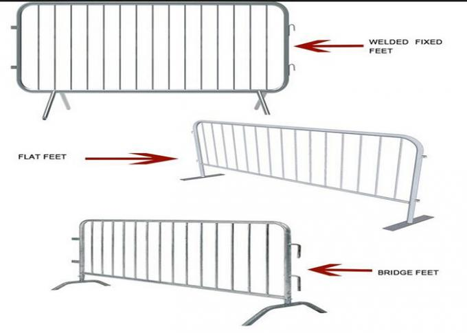 Retractable Steel Barricades Crowd Control / Metal Pedestrian Barriers For Road Safe 0